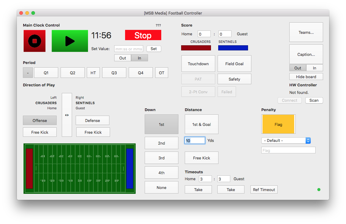 MSB Screenshot: Football Scoreboard Controller