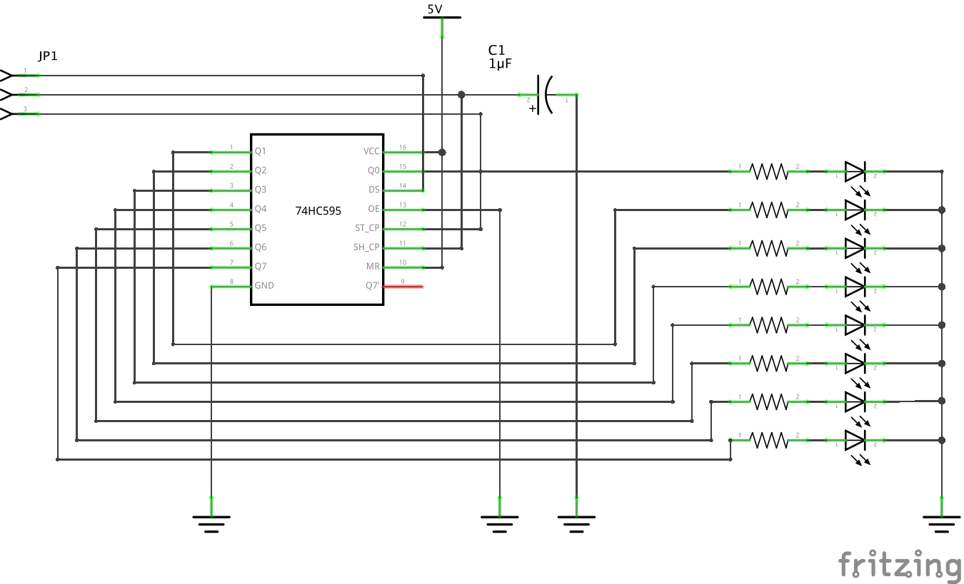 Shift register demo circuit diagram